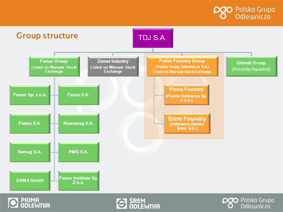 Group structure TDJ S.A. Śrem Foundry (Odlewnia Żeliwa Śrem S.A.)
