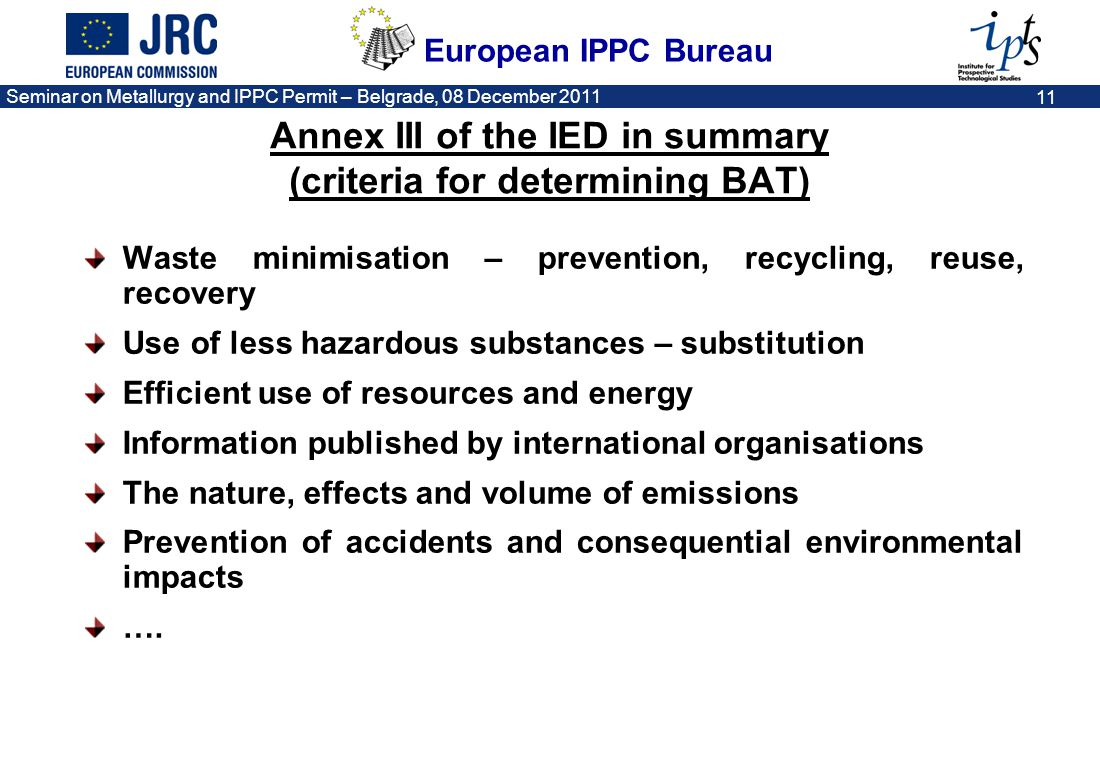 Annex III of the IED in summary (criteria for determining BAT)