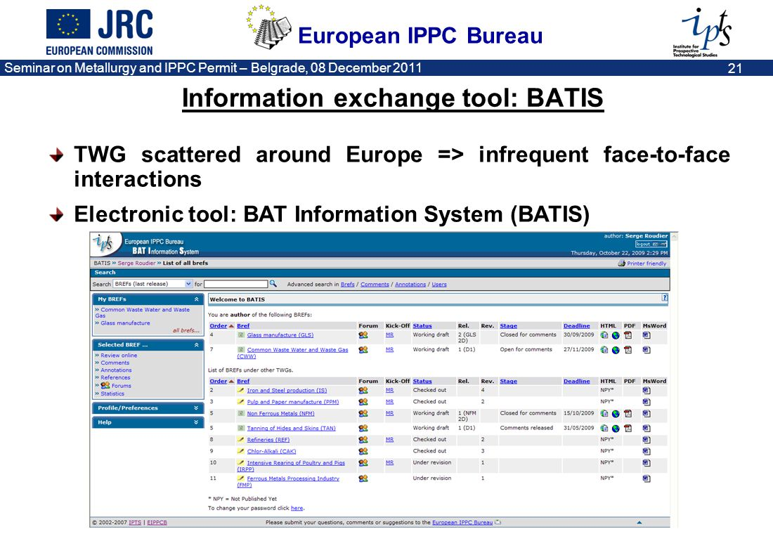 Information exchange tool: BATIS