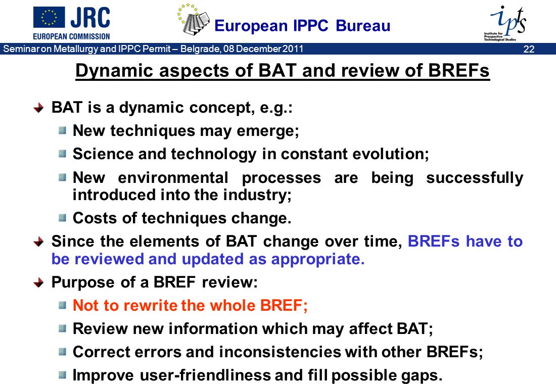 Dynamic aspects of BAT and review of BREFs