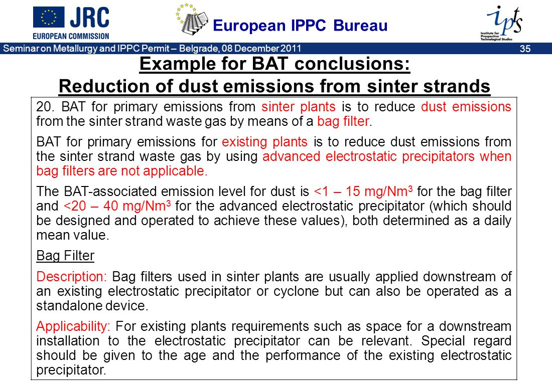 Example for BAT conclusions: Reduction of dust emissions from sinter strands