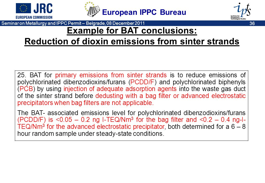 Example for BAT conclusions: Reduction of dioxin emissions from sinter strands