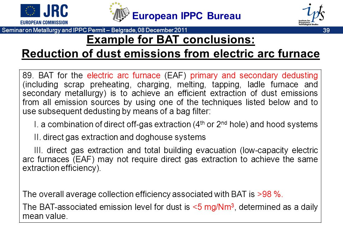 Example for BAT conclusions: Reduction of dust emissions from electric arc furnace