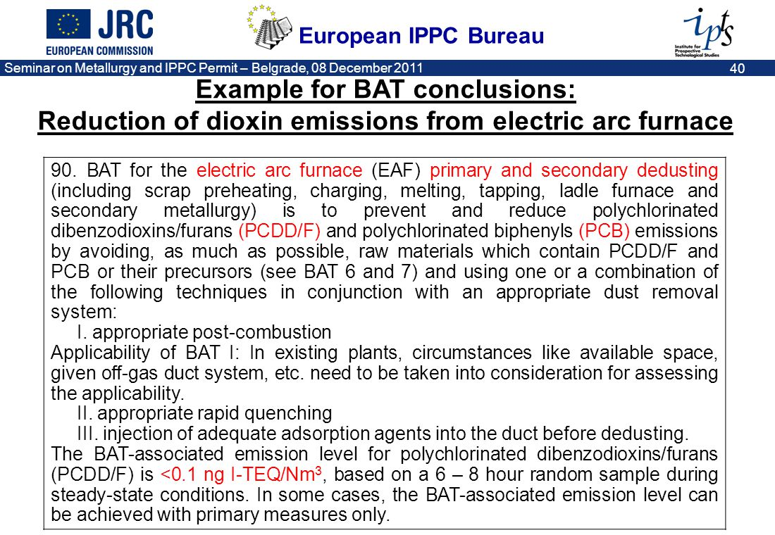 Example for BAT conclusions: Reduction of dioxin emissions from electric arc furnace