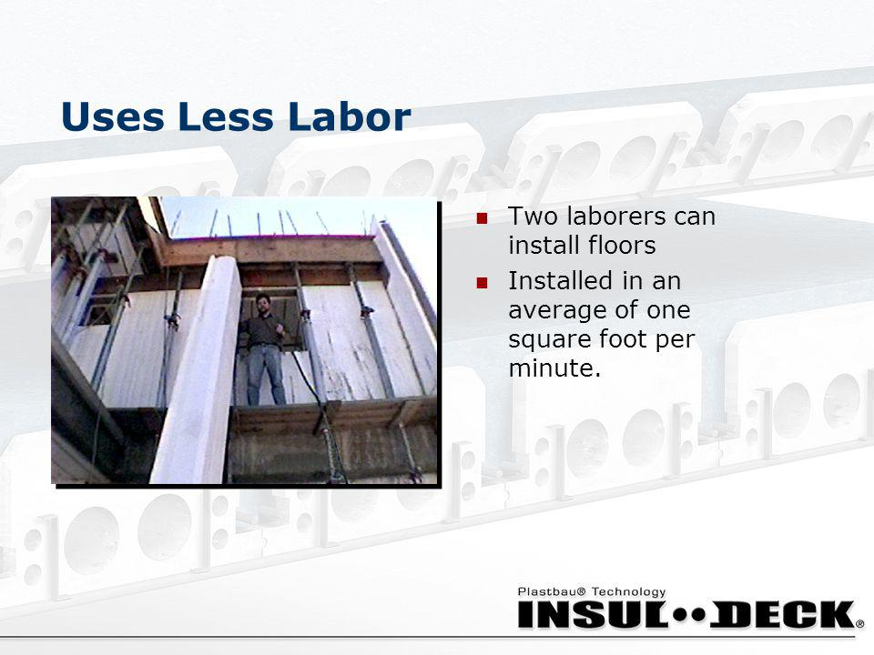 Uses Less Labor Two laborers can install floors