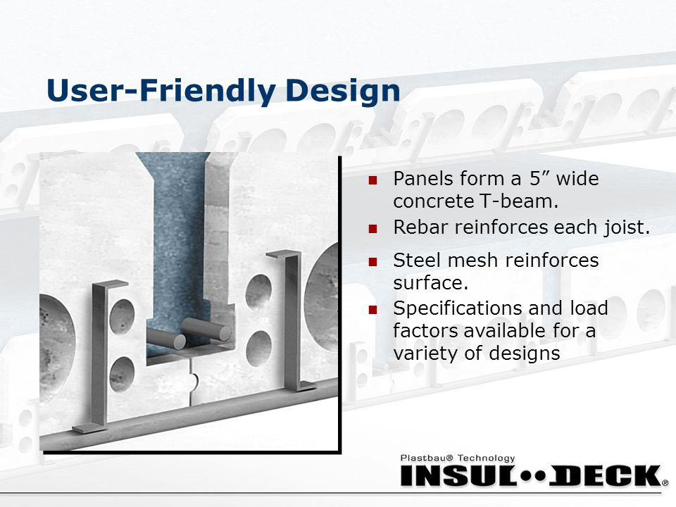 User-Friendly Design Panels form a 5 wide concrete T-beam.