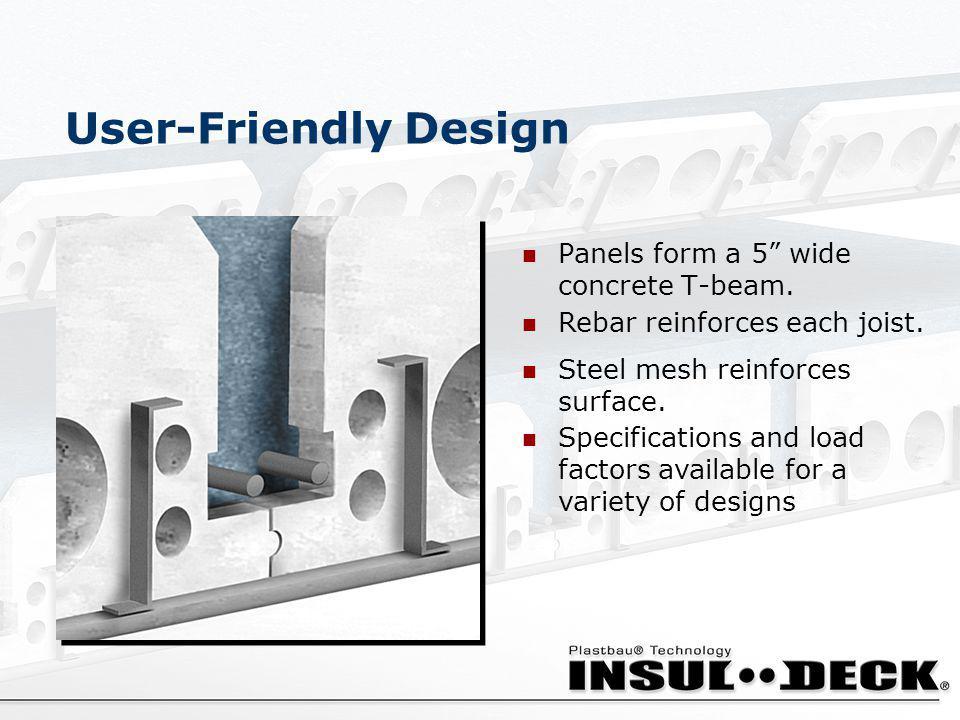 User-Friendly Design Panels form a 5 wide concrete T-beam.
