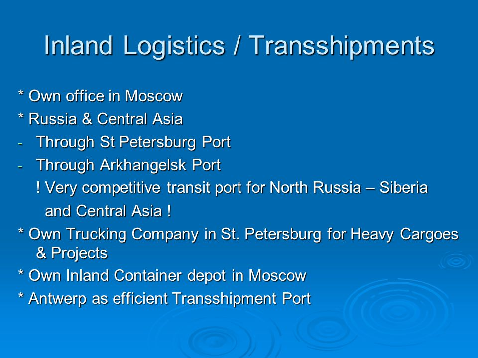 Inland Logistics / Transshipments