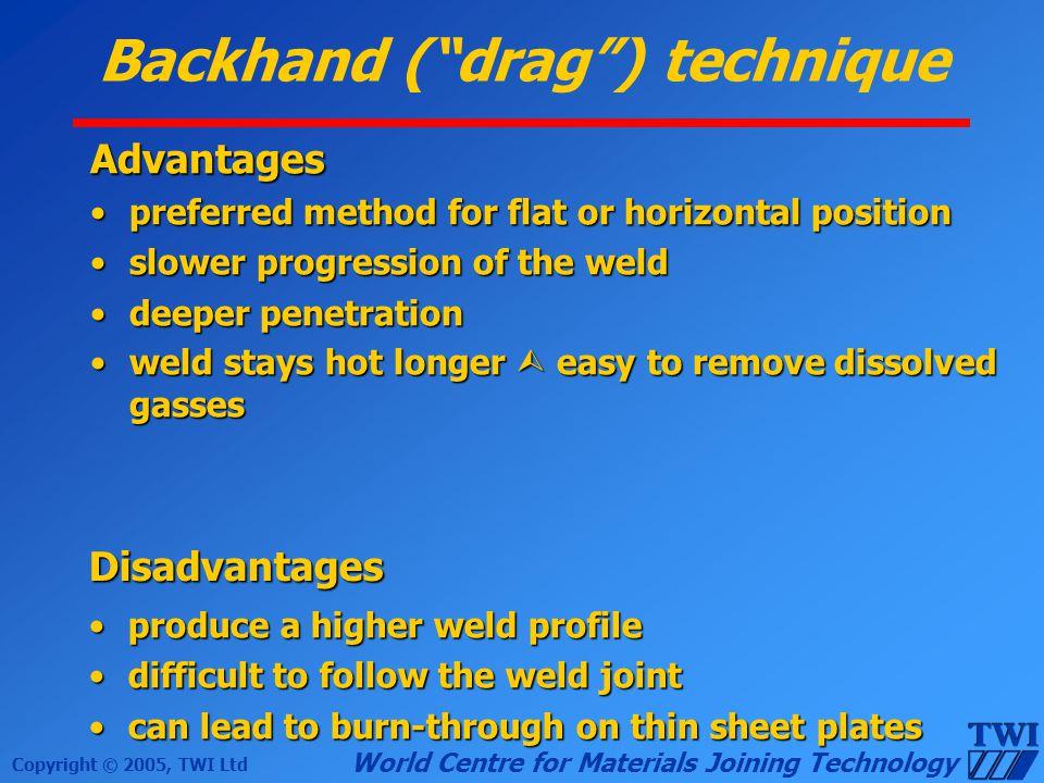 Backhand ( drag ) technique