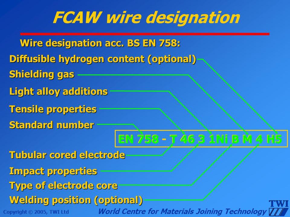 FCAW wire designation EN 758 - T 46 3 1Ni B M 4 H5 EN 758 T 46 3 1Ni B