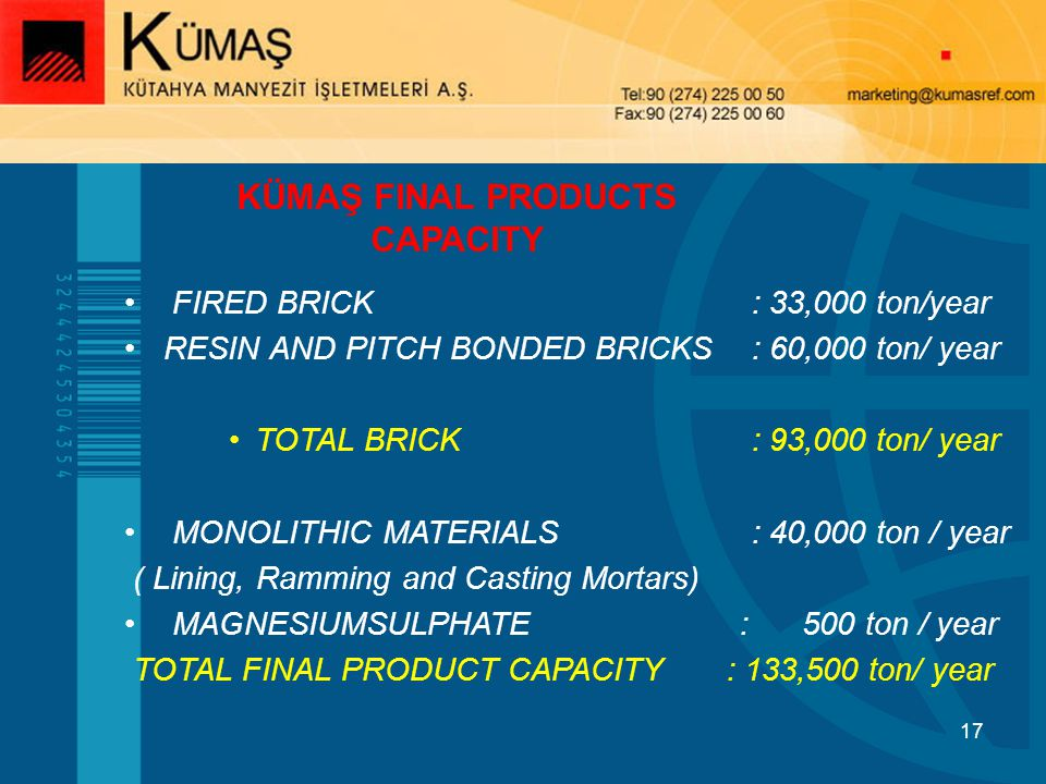 KÜMAŞ FINAL PRODUCTS CAPACITY