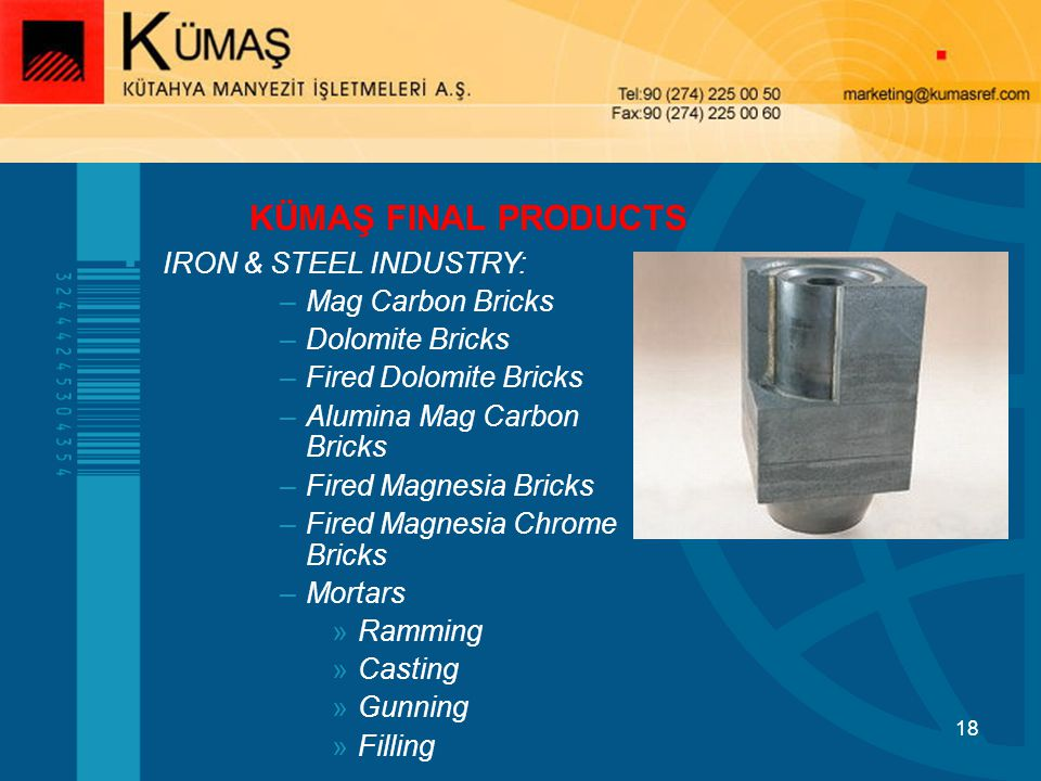 KÜMAŞ FINAL PRODUCTS IRON & STEEL INDUSTRY: Mag Carbon Bricks