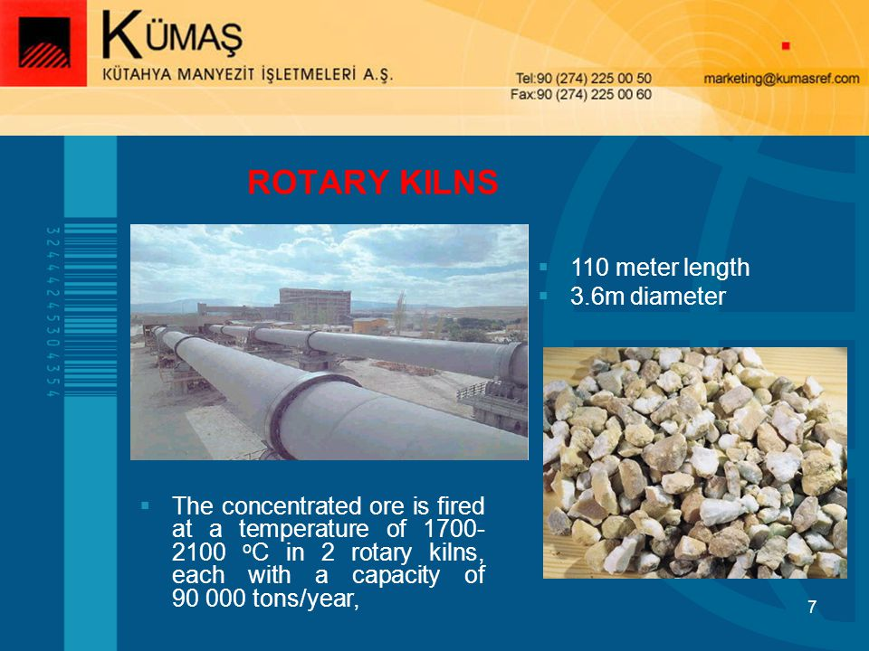 ROTARY KILNS 110 meter length 3.6m diameter