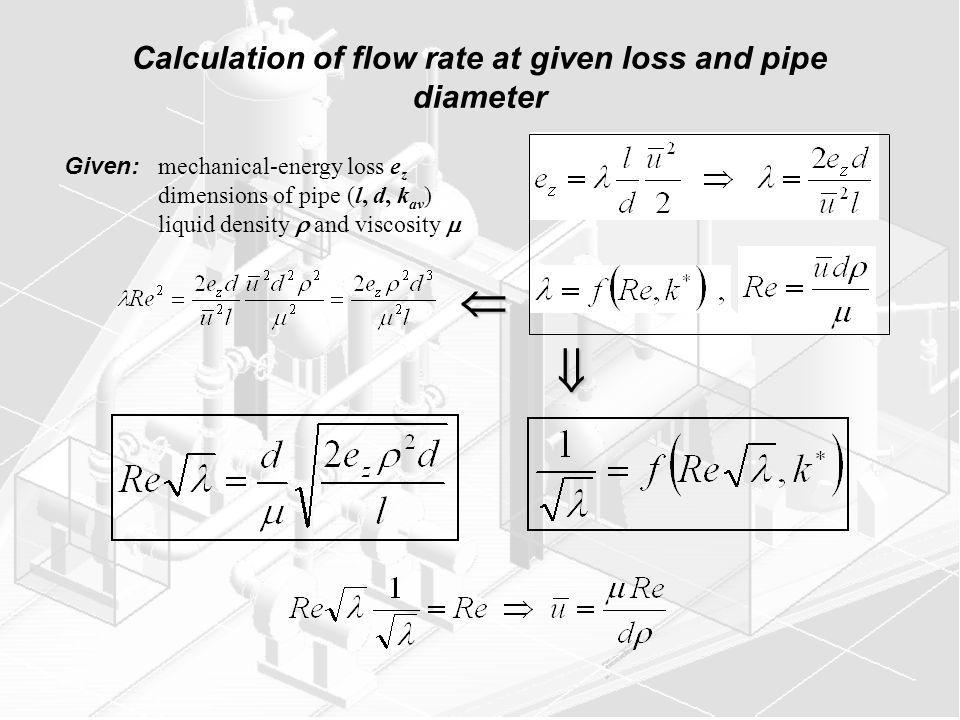 Calculation of flow rate at given loss and pipe diameter