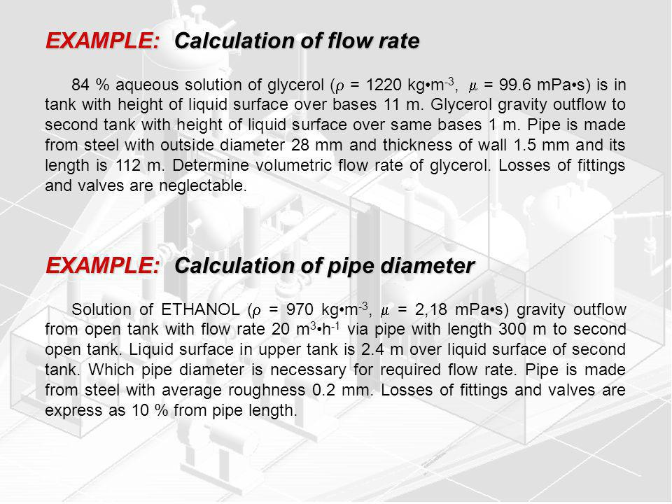 EXAMPLE: Calculation of flow rate