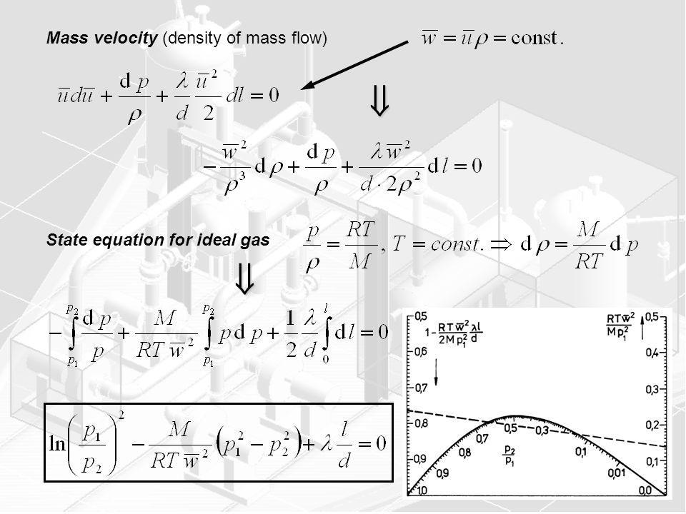   Mass velocity (density of mass flow) State equation for ideal gas