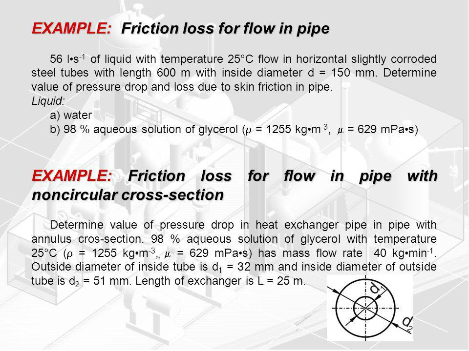 EXAMPLE: Friction loss for flow in pipe