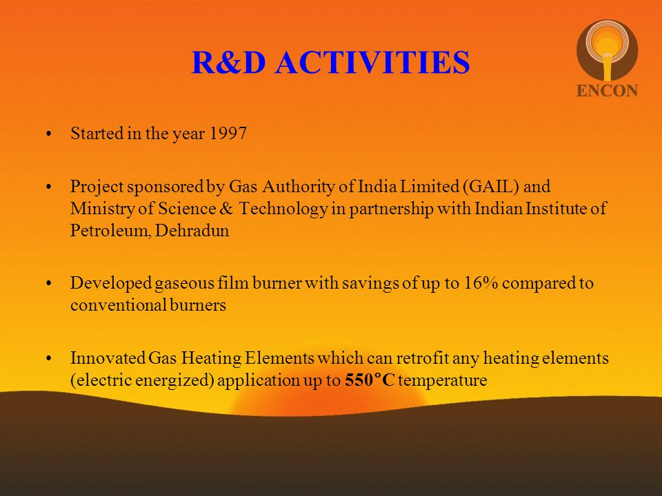 R&D ACTIVITIES Started in the year 1997