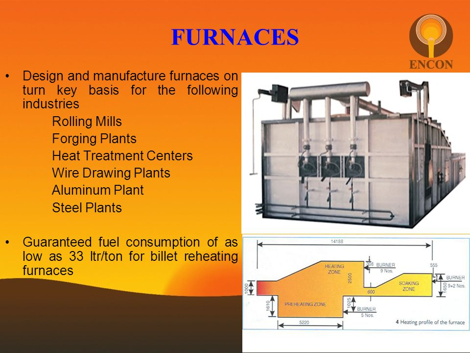 FURNACES Design and manufacture furnaces on turn key basis for the following industries. Rolling Mills.