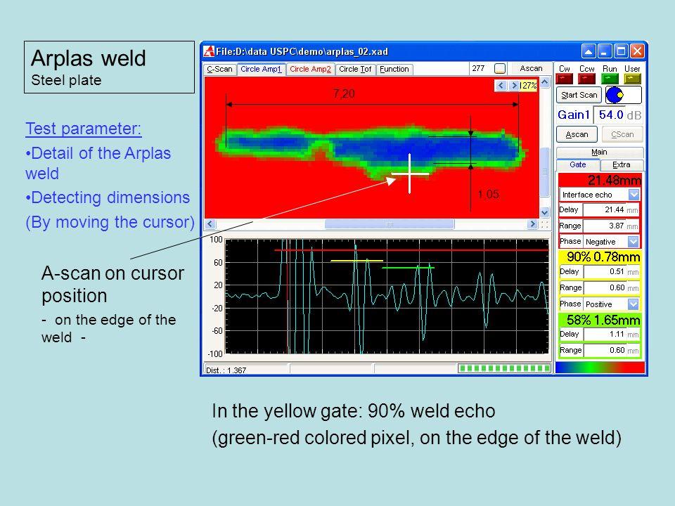 Arplas weld A-scan on cursor position