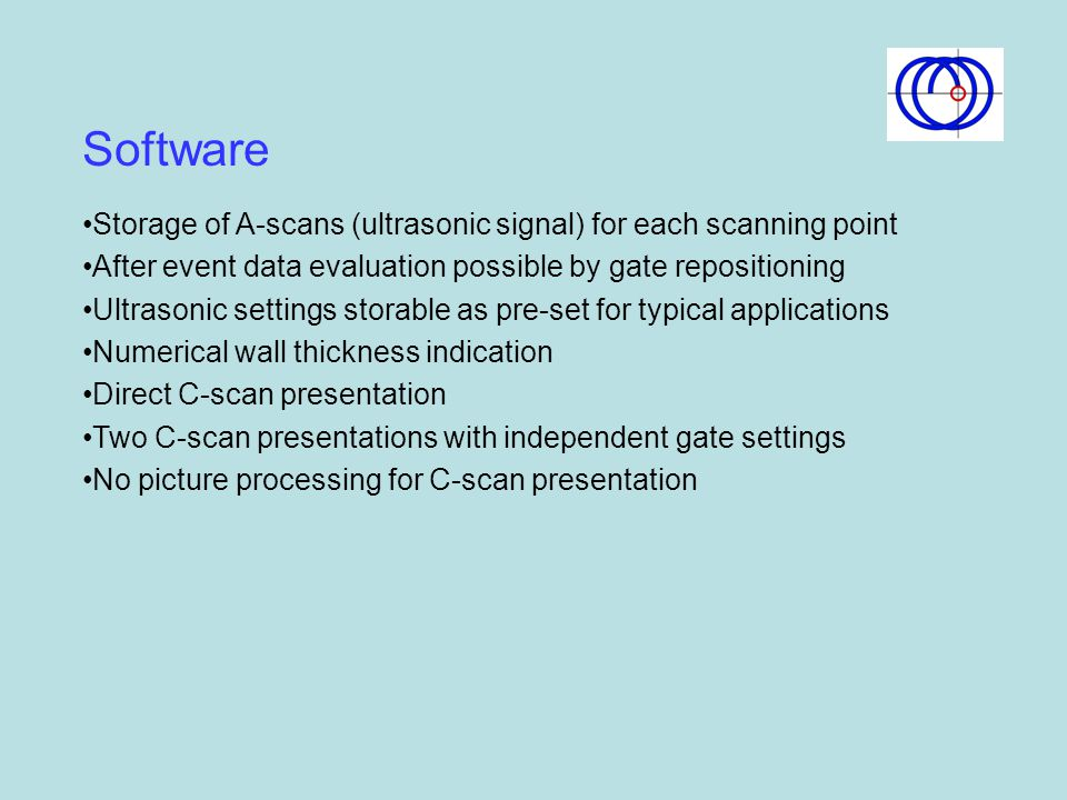 Software Storage of A-scans (ultrasonic signal) for each scanning point. After event data evaluation possible by gate repositioning.