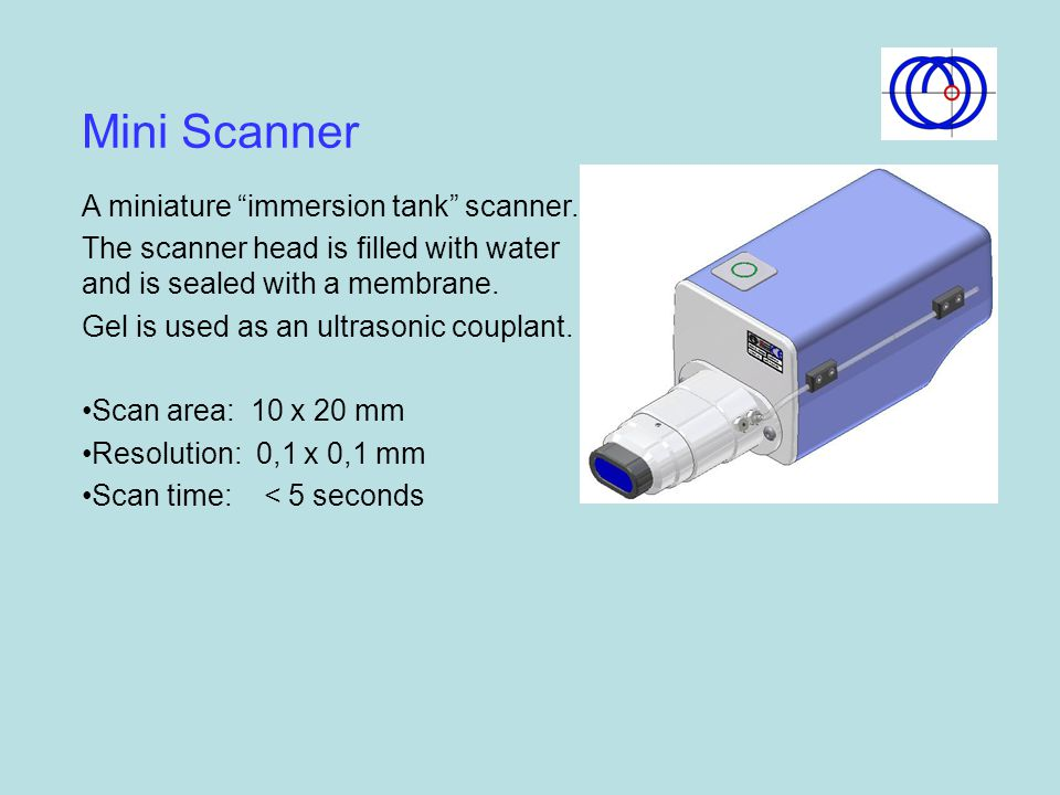 Mini Scanner A miniature immersion tank scanner.