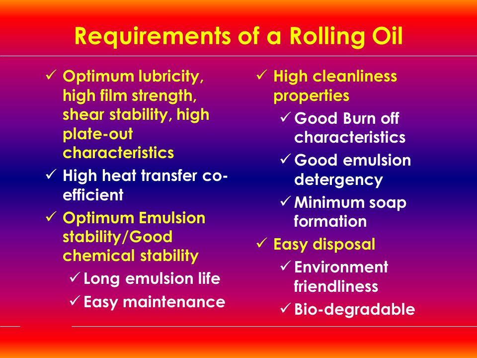 Requirements of a Rolling Oil