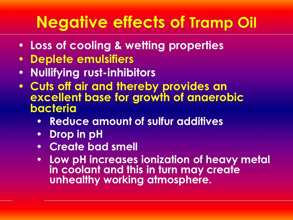 Negative effects of Tramp Oil