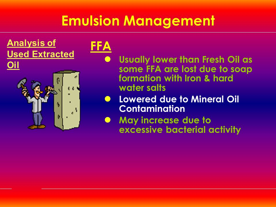 Emulsion Management FFA Analysis of Used Extracted Oil