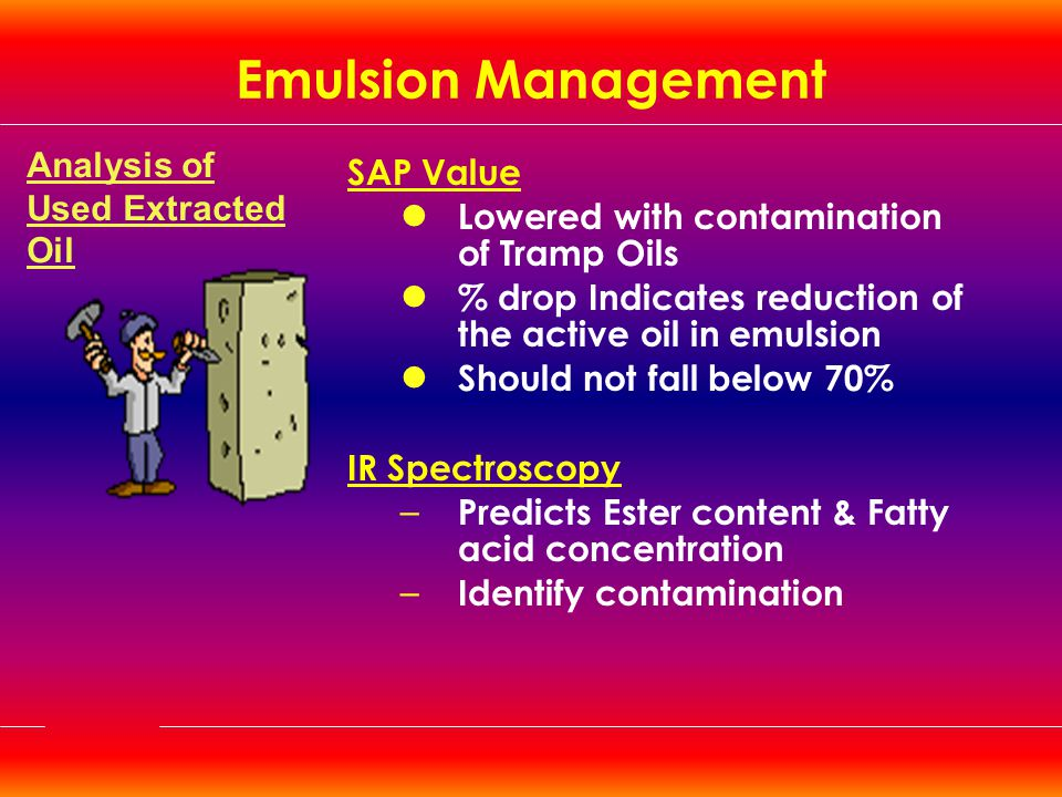 Emulsion Management Analysis of Used Extracted Oil SAP Value