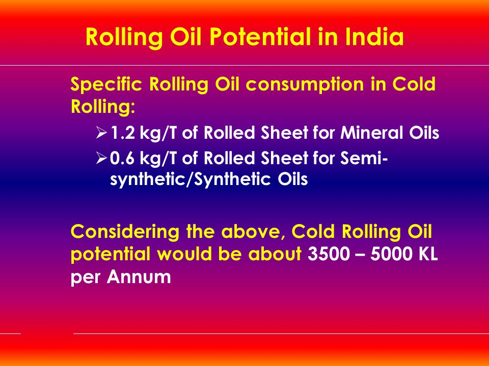 Rolling Oil Potential in India