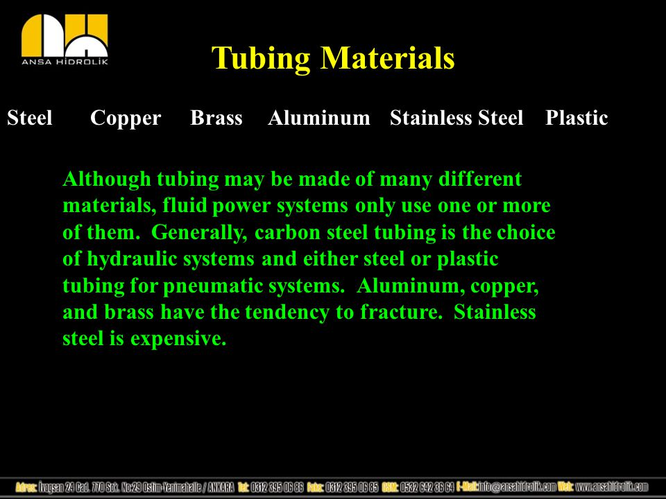 Tubing Materials Steel Copper Brass Aluminum Stainless Steel Plastic