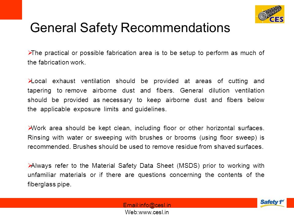 General Safety Recommendations