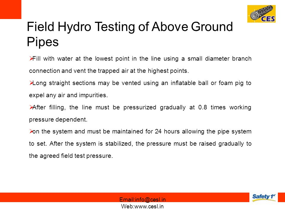 Field Hydro Testing of Above Ground Pipes