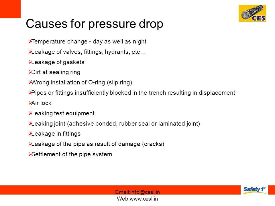 Causes for pressure drop