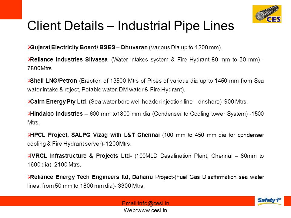 Client Details – Industrial Pipe Lines