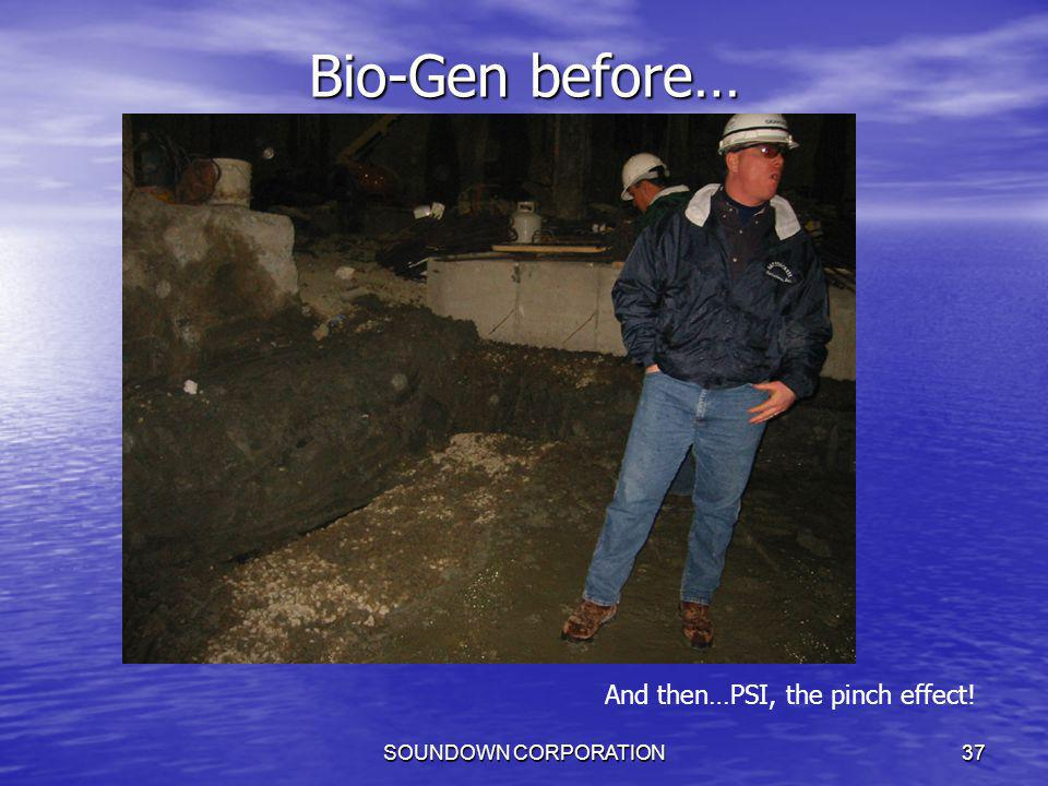 Bio-Gen before… And then…PSI, the pinch effect! SOUNDOWN CORPORATION