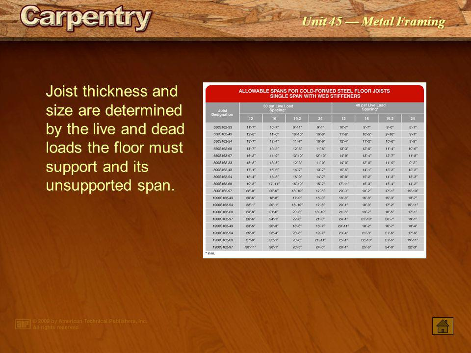 Joist thickness and size are determined by the live and dead loads the floor must support and its unsupported span.
