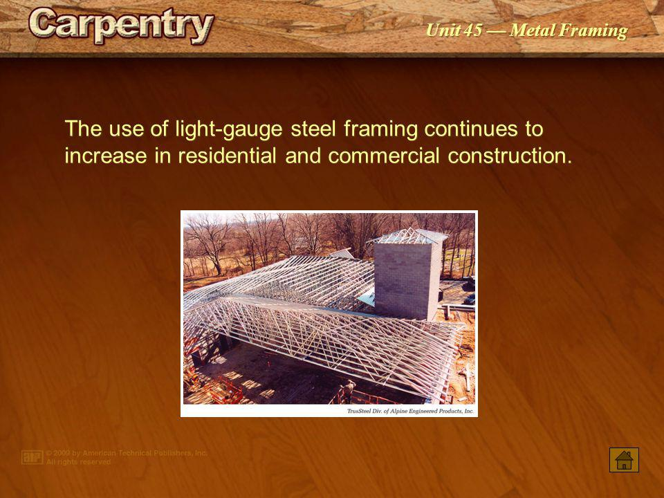 The use of light-gauge steel framing continues to increase in residential and commercial construction.