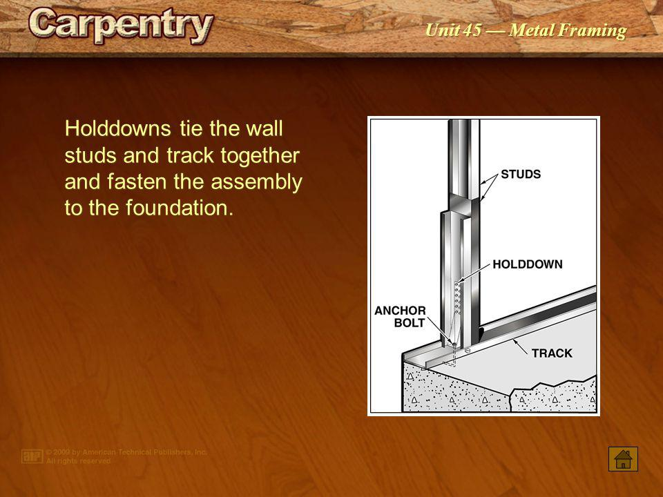 Holddowns tie the wall studs and track together and fasten the assembly to the foundation.