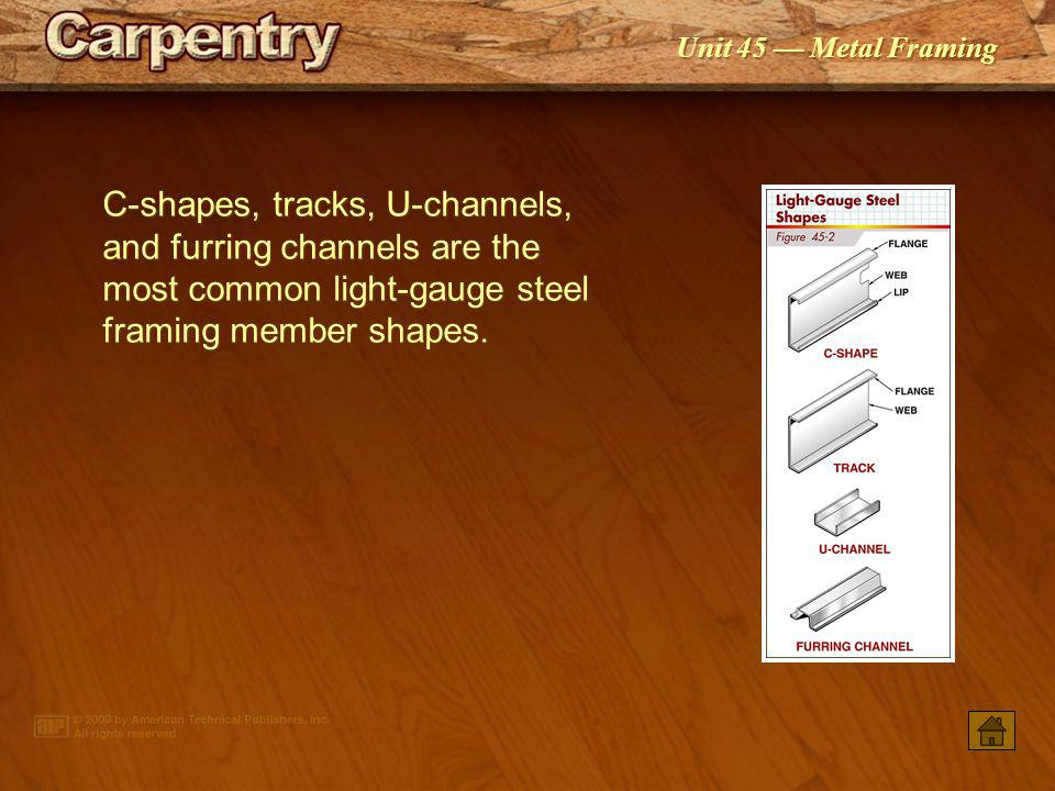 C-shapes, tracks, U-channels, and furring channels are the most common light-gauge steel framing member shapes.