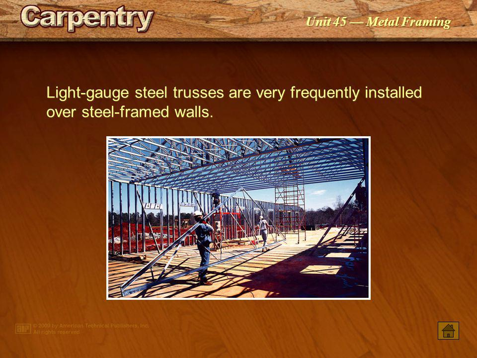 Light-gauge steel trusses are very frequently installed over steel-framed walls.