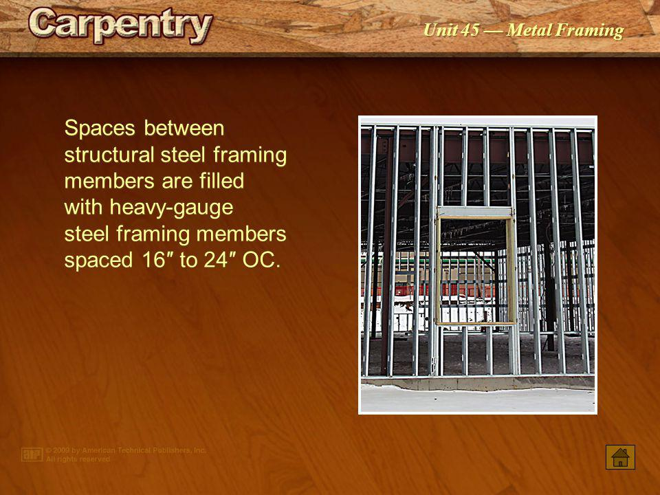 Spaces between structural steel framing members are filled with heavy-gauge steel framing members spaced 16″ to 24″ OC.