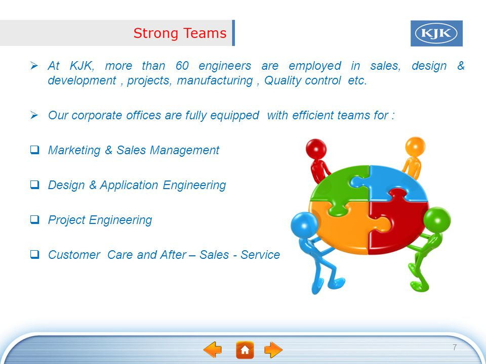 At KJK, more than 60 engineers are employed in sales, design & development , projects, manufacturing , Quality control etc.