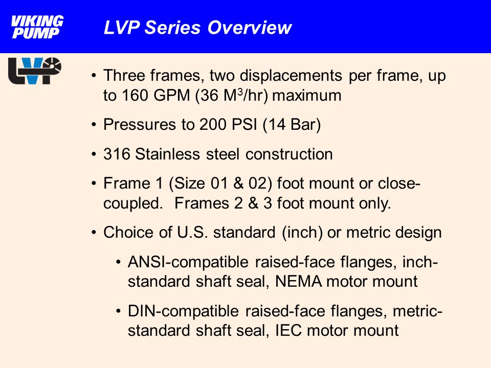 LVP Series Overview Three frames, two displacements per frame, up to 160 GPM (36 M3/hr) maximum. Pressures to 200 PSI (14 Bar)