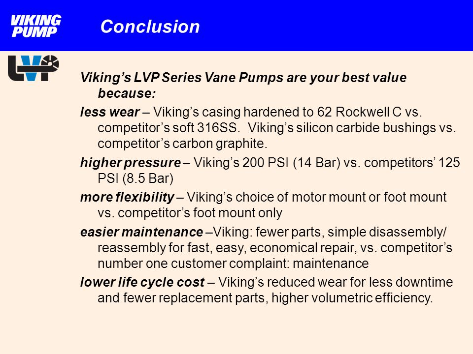 Conclusion Viking's LVP Series Vane Pumps are your best value because: