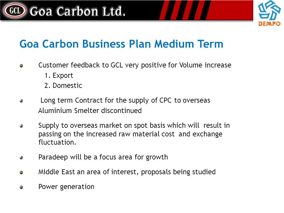 Goa Carbon Business Plan Medium Term