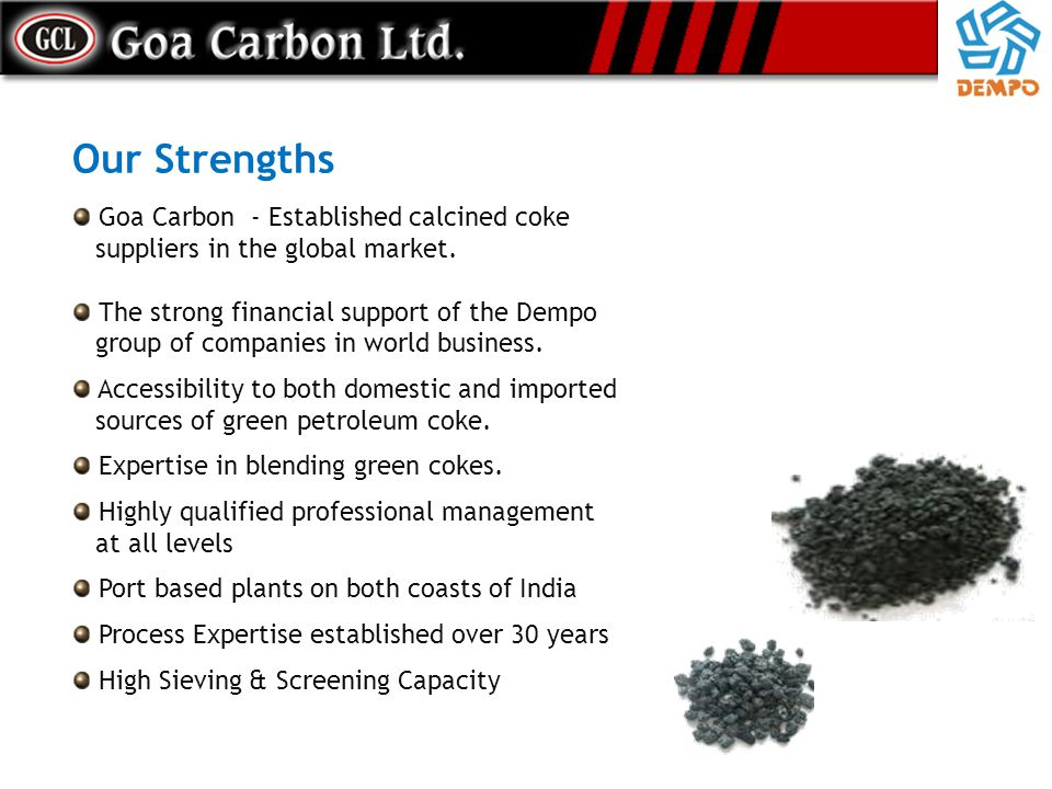 Our Strengths Goa Carbon - Established calcined coke