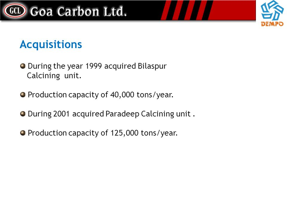 Acquisitions During the year 1999 acquired Bilaspur Calcining unit.