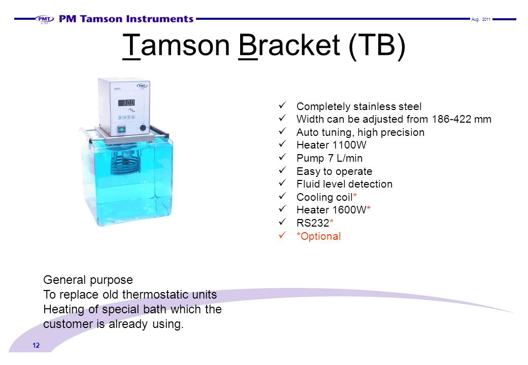 Tamson Bracket (TB) General purpose To replace old thermostatic units